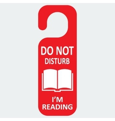Hotel tag do not disturb with reading book vector