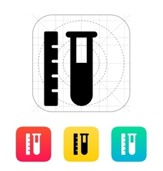 Test tube with ruler icon vector