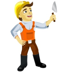 Young plasterer with trowel vector