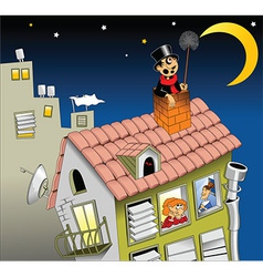 Chimney sweep on roof vector