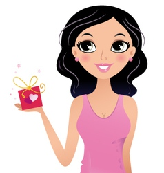 Happy girl holding gift box isolated on white vector