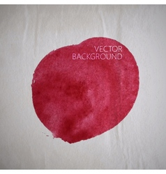 Red watercolor stain or blotch on the old vector