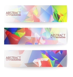 Abstract 3d triangular banners set vector