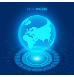 Holographic globe with continents vector