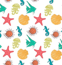 Seamless sea pattern with colorful marine vector