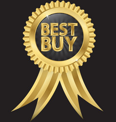 Best buy golden label with ribbons vector