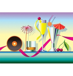 Delicious cocktails garnished with music vector