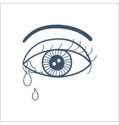 Crying eye with tears isolated on white vector