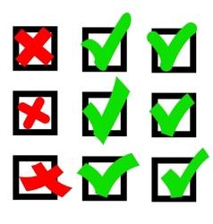 Set check marks or ticks in boxes conceptual vector