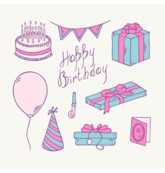 Doodle birthday item collection vector