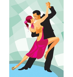 Pair of dancers in ballroom dance vector