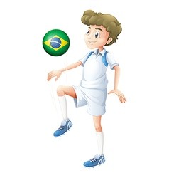 A soccer player from brazil vector