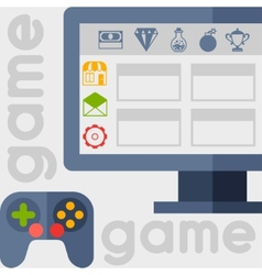 Background with game icons in flat design style vector
