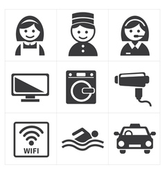 Hotel services icon set vector