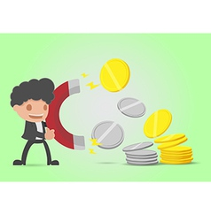 Businessman attracts money coin gold silver vector