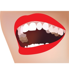 White teeth smile red lip vector