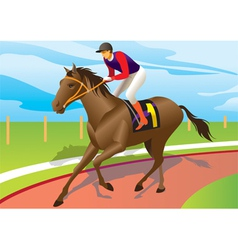 Jockey ride a brown horse vector