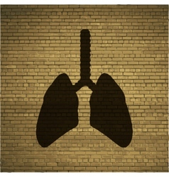 Human lung flat modern web button and space for vector