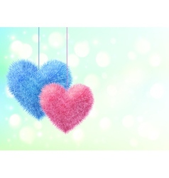 Blue and pink fluffy hearts pair on blue bokeh vector