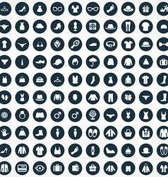 100 clothes icons set vector