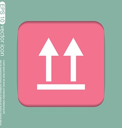 Fragile symbol arrow up logistic icon vector