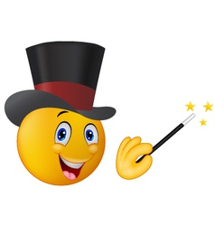 Magician in top hat with magic wand showing trick vector