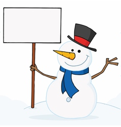 Snowman waving and holding a sign vector