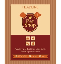 Logo for a pet store in heraldic style accessories vector