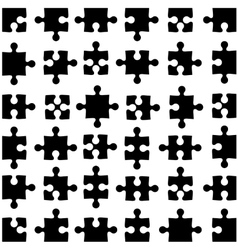 Set of black jigsaw puzzles vector