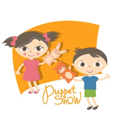 Small kids with hand puppet toy vector