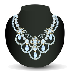Necklace women blue for marriage with pearls and p vector