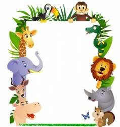 Animal cartoon frame vector