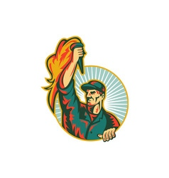 Worker holding up flaming torch circle retro vector