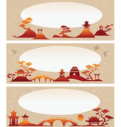 Set banners abstract asian landscapes vector