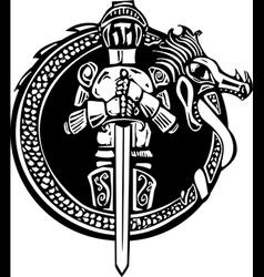 Knight in dragon circle vector