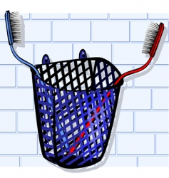 Toothbrush in basket vector