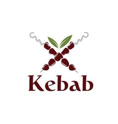 Kebab with leaves vector