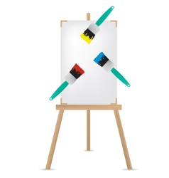 Easel and paint brush vector