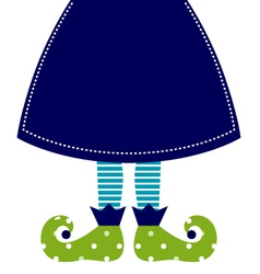 Cute christmas elf legs with skirt vector
