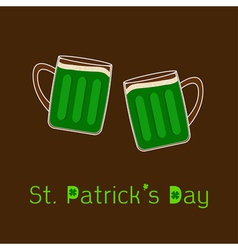 St patricks day two clink green beer glasses vector