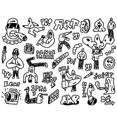 Rap  hip hop - doodles set vector