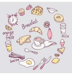 Hand drawn breakfast item set cute food vector