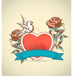 Red heart roses and dove vector