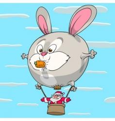 Hare balloon of santa claus vector