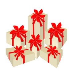 A set of beautiful gift boxes with red ribbon vector