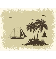Sea landscape with palms and ships silhouettes vector