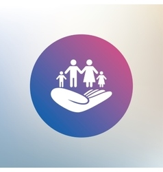 Family insurance sign hand holds human group vector