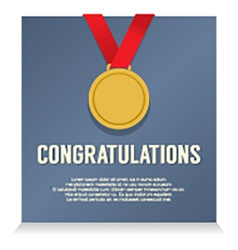 Golden medal with congratulations card vector