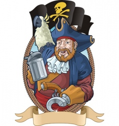 Pirate with parrot vector
