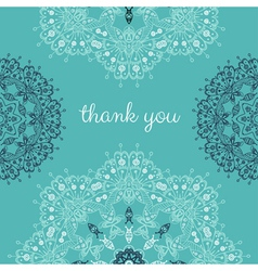 Thank you card with abstract mandala lace vector
